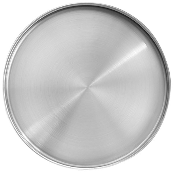 """Front of the House DOS034BSS21 Soho 12 1/4"""" Brushed Stainless Steel Round Plate with Raised Rim - 4/Case Main Image 1"""