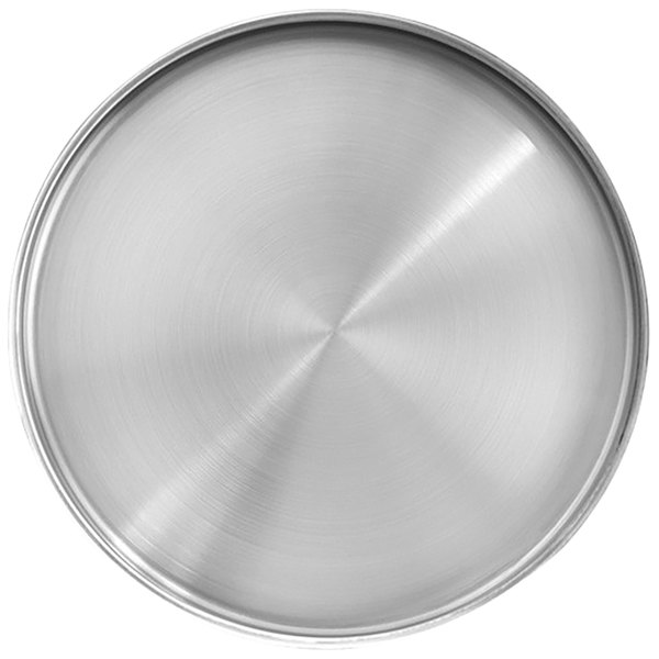 """Front of the House DDP071BSS23 Soho 9"""" Brushed Stainless Steel Round Plate with Raised Rim - 12/Case Main Image 1"""
