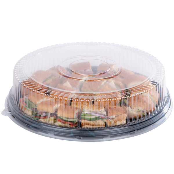 "Sabert 9928 Onyx 18"" Black 7-Compartment Round Catering Tray - 36/Case"