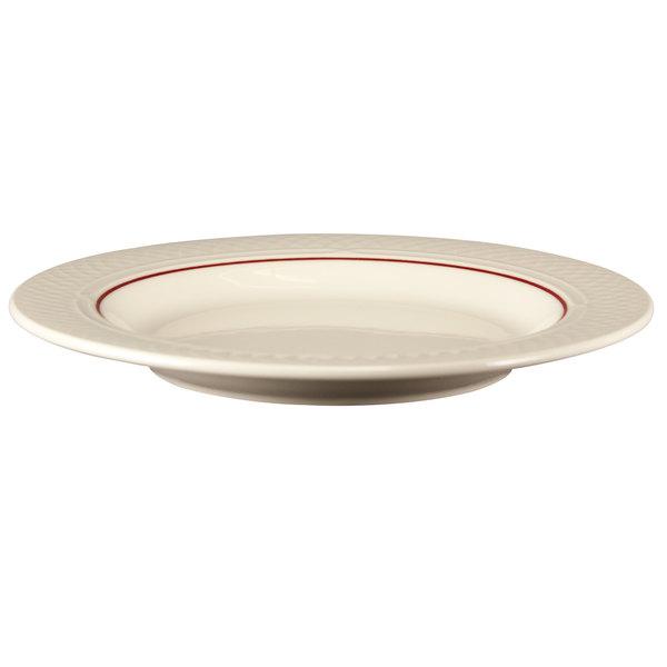 Homer Laughlin 1492-0343 Gothic Maroon Jade 13 oz. Off White Pasta Bowl - 12/Case