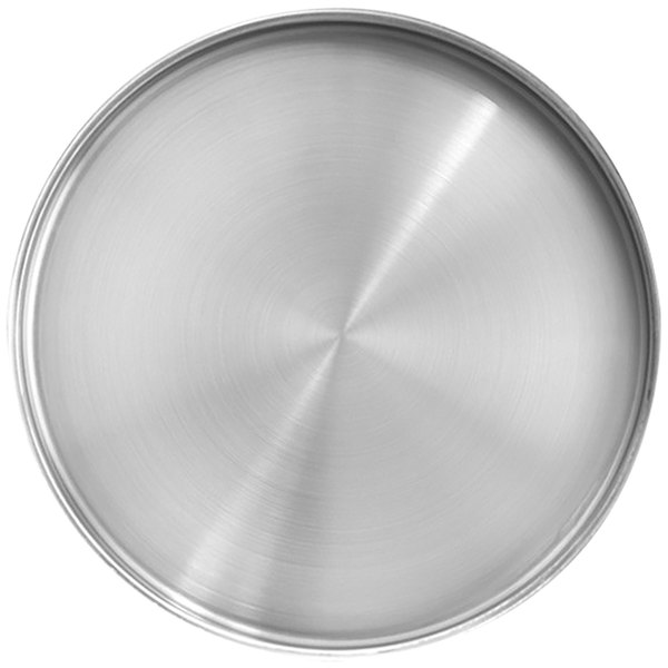 "Front of the House DDP070BSS22 Soho 11"" Brushed Stainless Steel Round Plate with Raised Rim - 6/Case Main Image 1"