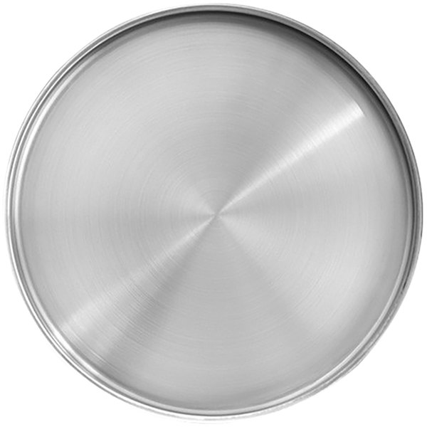 "Front of the House DSP038BSS23 Soho 7 1/2"" Brushed Stainless Steel Round Plate with Raised Rim - 12/Case Main Image 1"