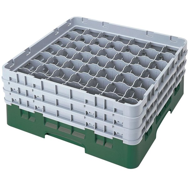 "Cambro 49S1114119 Sherwood Green Camrack Customizable 49 Compartment 11 3/4"" Glass Rack"