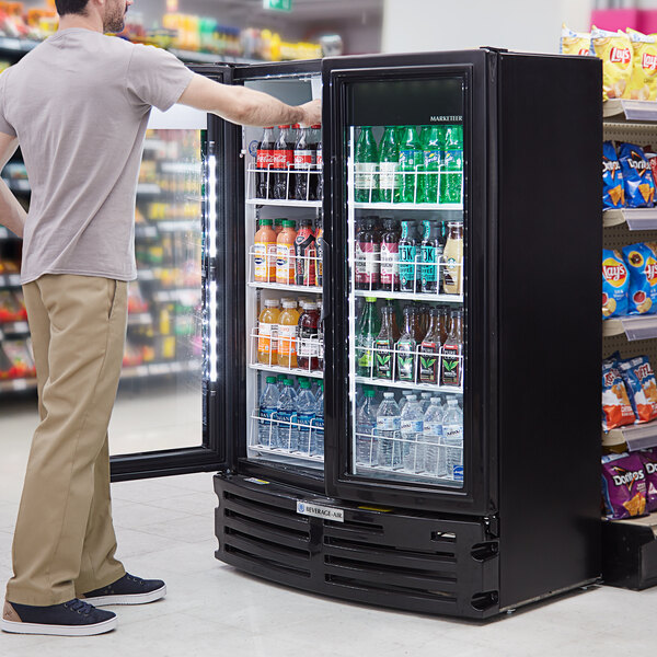 "Beverage-Air MT21-1B Marketeer 39 3/16"" Black Refrigerated Glass Door Merchandiser with LED Lighting Main Image 5"