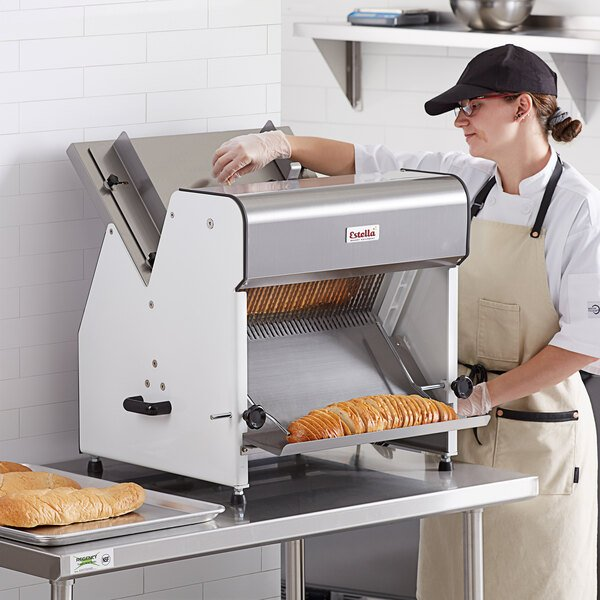 "Estella Countertop Bread Slicer - 1/2"" Slice Thickness, 18 3/4"" Max Loaf Length - 1/4 hp Main Image 4"