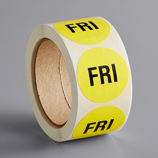 """Lavex Industrial 2"""" Friday Yellow Matte Paper Permanent Inventory Day Label - 500/Roll Main Image 1"""