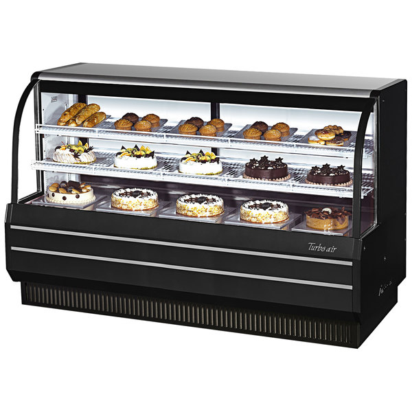"""Turbo Air TCGB-72-B-N Black 72"""" Curved Glass Refrigerated Bakery Display Case"""