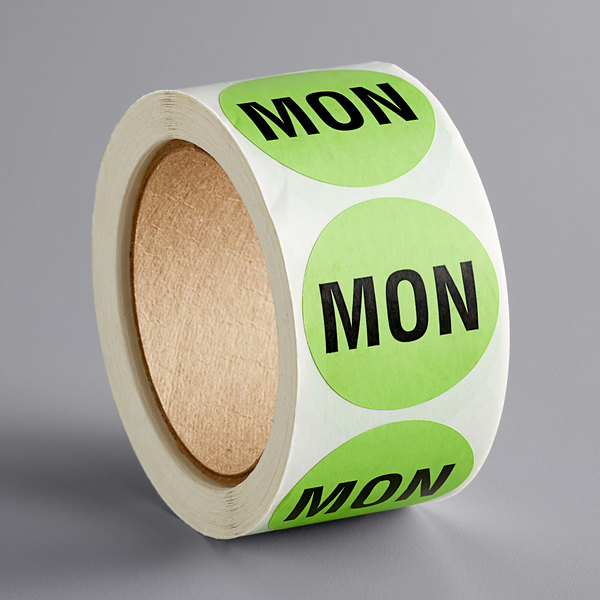"""Lavex Industrial 2"""" Monday Green Matte Paper Permanent Inventory Day Label - 500/Roll Main Image 1"""