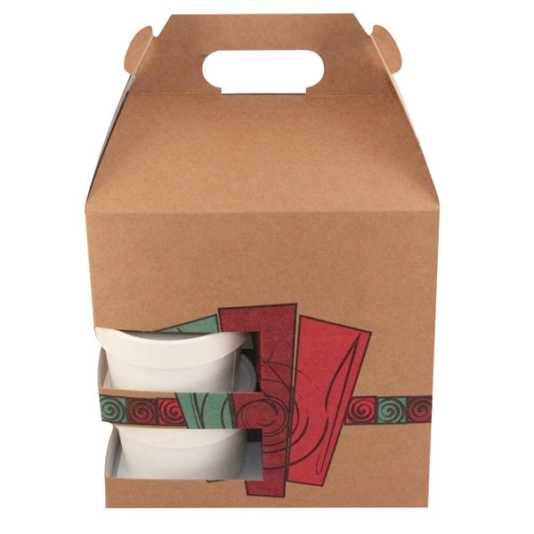 """8"""" x 6"""" x 8"""" Barn Take Out Lunch Box / Chicken Box with Cup Holder and Harvest Design - 100/Case"""