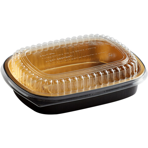 Choice 47.4 oz. Smoothwall Black and Gold Medium Foil Entree / Take-Out Pan with Dome Lid  - 50/Case