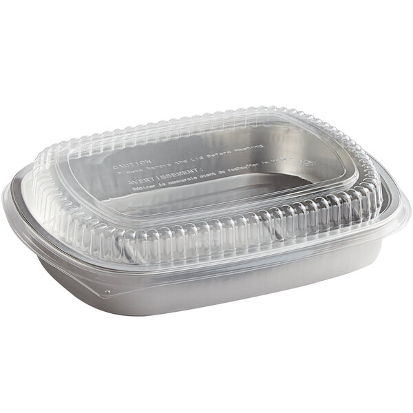 Choice 65.6 oz. Smoothwall Silver Large Foil Entree / Take-Out Pan with Dome Lid - 50/Case