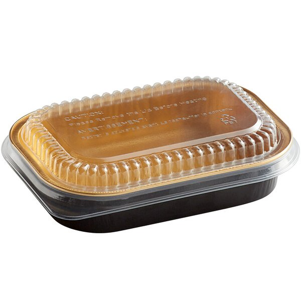 Choice 16 oz. Smoothwall Black and Gold Mini Foil Entree / Take-Out Pan with Dome Lid - 100/Case
