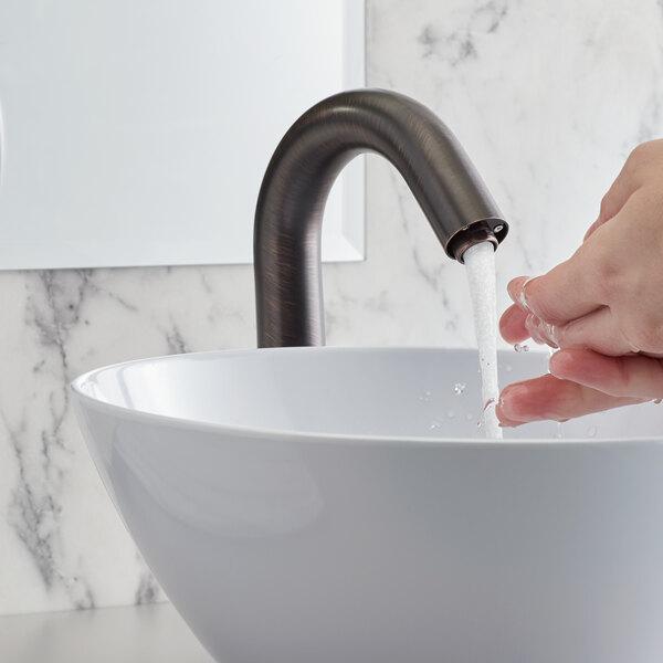 "Waterloo EFDMHSBZ Deck-Mounted Bronze Hands-Free Sensor Faucet with 7 1/8"" Gooseneck Spout and Concealed Sensor Main Image 5"