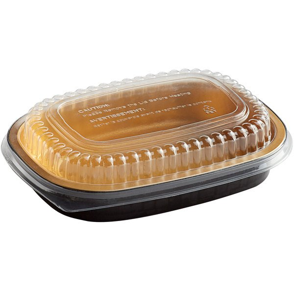 Choice 23.3 oz. Smoothwall Black and Gold Small Foil Entree / Take-Out Pan with Dome Lid - 100/Case