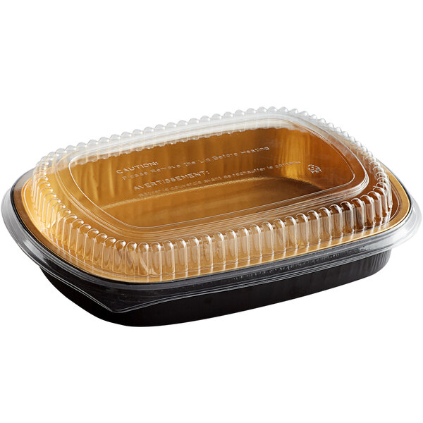 Choice 65.6 oz. Smoothwall Black and Gold Large Foil Entree / Take-Out Pan with Dome Lid - 50/Case