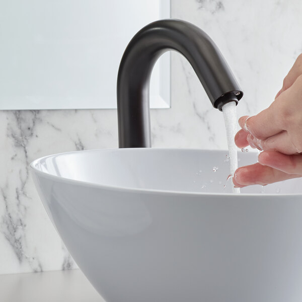 "Waterloo EFDMHSBK Deck-Mounted Matte Black Hands-Free Sensor Faucet with 7 1/8"" Gooseneck Spout and Concealed Sensor Main Image 5"