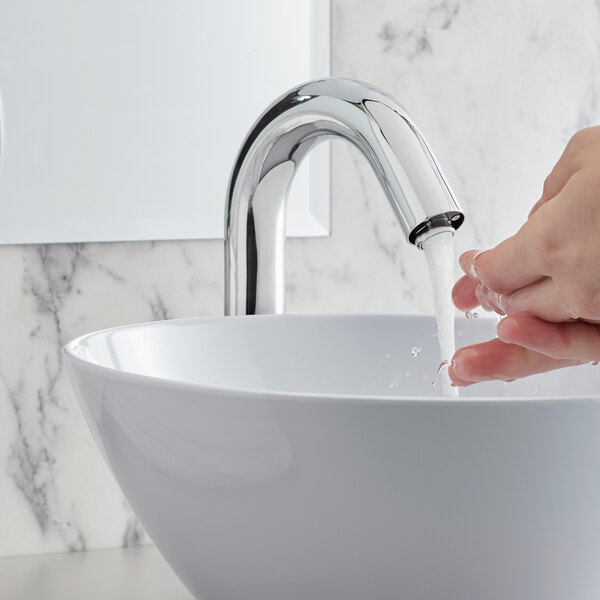 """Waterloo EFDMHS Deck-Mounted Chrome Hands-Free Sensor Faucet with 7 1/8"""" Gooseneck Spout and Concealed Sensor Main Image 5"""