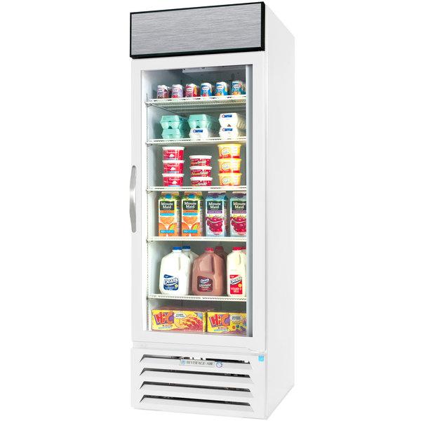 """Beverage-Air MMR23HC-1-WB-IQ-18 MarketMax 27"""" White Glass Door Merchandiser with Black Interior, Left-Hinged Door, and Electronic Smart Door Lock"""