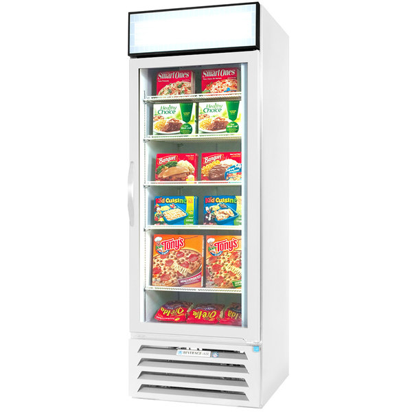"Beverage-Air MMF27HC-1-WS-IQ MarketMax 30"" White Glass Door Merchandiser with Stainless Steel Interior and Electronic Smart Door Lock"