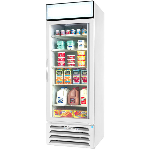 "Beverage-Air MMR23HC-1-WS-IQ MarketMax 27"" White Glass Door Merchandiser with Stainless Steel Interior and Electronic Smart Door Lock"