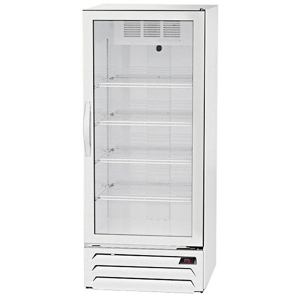 "Beverage-Air MMR12HC-1-WB-IQ MarketMax 24"" White Glass Door Merchandiser with Black Interior and Electronic Smart Door Lock"