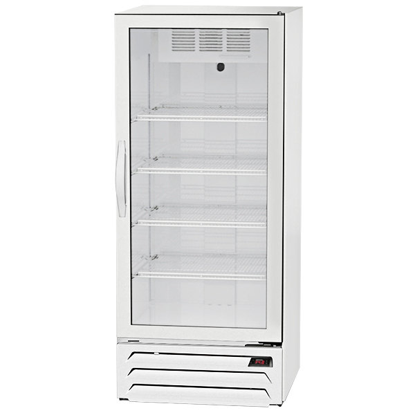 "Beverage-Air MMR12HC-1-WS-IQ MarketMax 24"" White Glass Door Merchandiser with Stainless Steel Interior and Electronic Smart Door Lock"