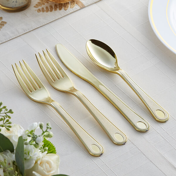Gold Visions Satin 4-Piece Heavy Weight Gold Plastic Cutlery Set - 25/Pack Main Image 2