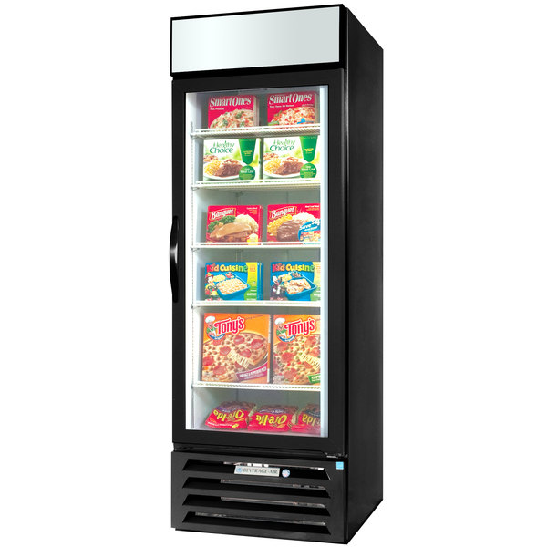 """Beverage-Air MMF27HC-1-BS-IQ MarketMax 30"""" Black Glass Door Merchandiser with Stainless Steel Interior and Electronic Smart Door Lock"""