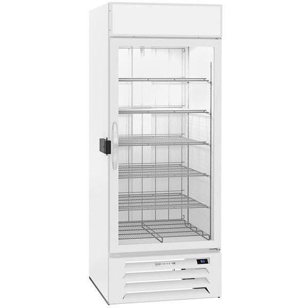 """Beverage-Air MMF27HC-1-WS-IQ-18 MarketMax 30"""" White Glass Door Merchandiser with Stainless Steel Interior, Left-Hinged Door, and Electronic Smart Door Lock"""