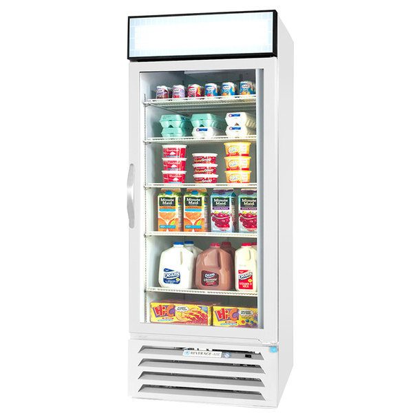 "Beverage-Air MMR27HC-1-WS-IQ MarketMax 30"" White Glass Door Merchandiser with Stainless Steel Interior and Electronic Smart Door Lock"