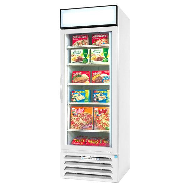 "Beverage-Air MMF12HC-1-WS-IQ MarketMax 24"" White Glass Door Merchandiser with Stainless Steel Interior and Electronic Smart Door Lock"