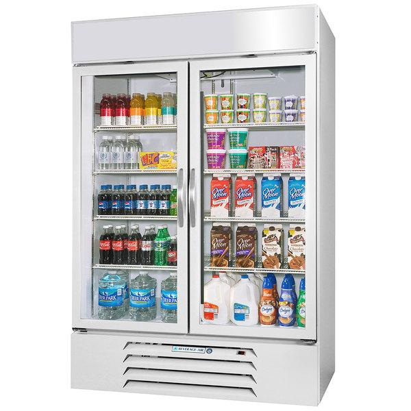 "Beverage-Air MMR49HC-1-WS-IQ MarketMax 52"" White Glass Door Merchandiser with Stainless Steel Interior and Electronic Smart Door Lock"