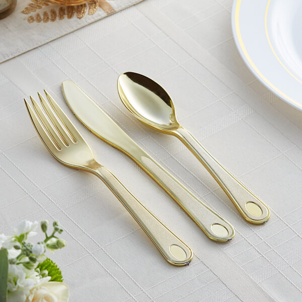 Gold Visions Satin 3-Piece Heavy Weight Gold Plastic Cutlery Set - 25/Pack Main Image 2