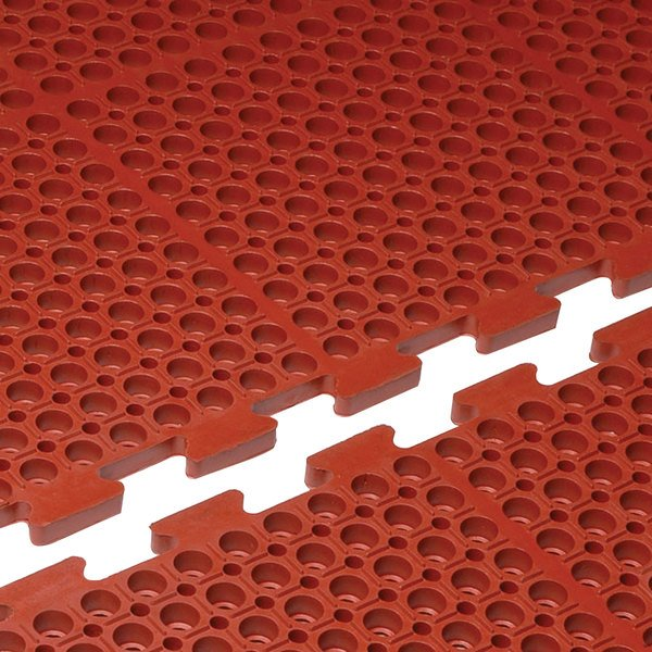 "Cactus Mat 4420-RC VIP Duralok 3' x 5' Red Center Interlocking Grease-Resistant Anti-Fatigue Anti-Slip Floor Mat - 3/4"" Thick"