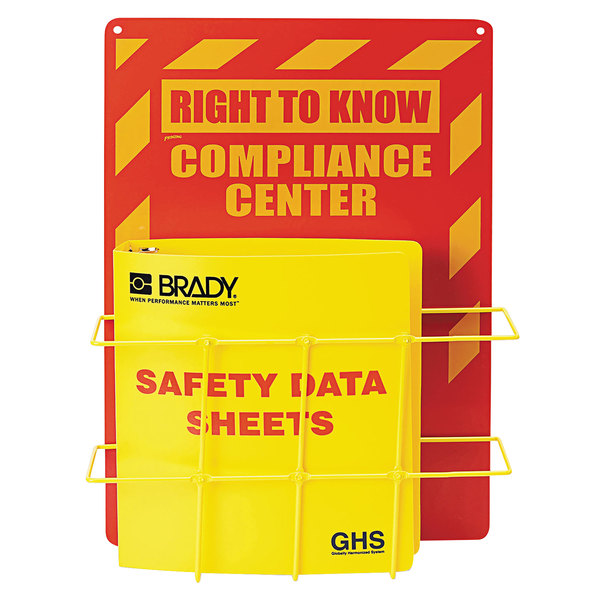 """Label Master H121370 Industrial SDS Yellow / Red Compliance Center with 1 1/2"""" PVC-Coated Binder Main Image 1"""