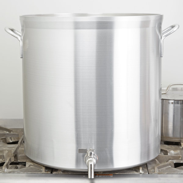 Vollrath 68681 Wear-Ever Classic Select 80 Qt. Heavy Duty Aluminum Stock Pot with Faucet Main Image 2