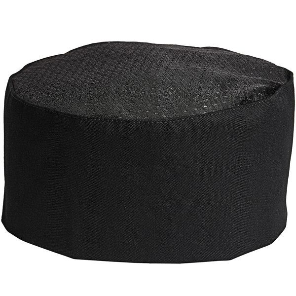 Uncommon Threads 0161 Black Customizable Uncommon Mesh Top Chef Skull Cap / Pill Box Hat with Hook and Loop Closure Main Image 1