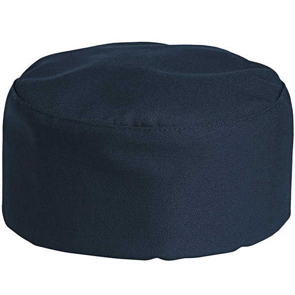 Uncommon Threads 0159 Navy Blue Customizable Uncommon Chef Skull Cap / Pill Box Hat with Hook and Loop Closure Main Image 1