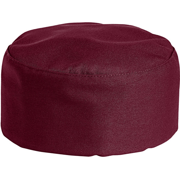 Uncommon Threads 0159 Burgundy Customizable Uncommon Chef Skull Cap / Pill Box Hat with Hook and Loop Closure Main Image 1