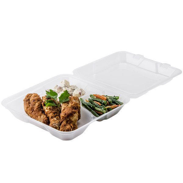 """GET EC-06 9"""" x 9"""" x 2 3/4"""" Clear Customizable Reusable Eco-Takeouts Container - 12/Pack Main Image 4"""