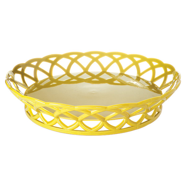 """GET RB-860-TY Tropical Yellow Round 10 1/2"""" Plastic Fast Food Basket - 12/Pack"""