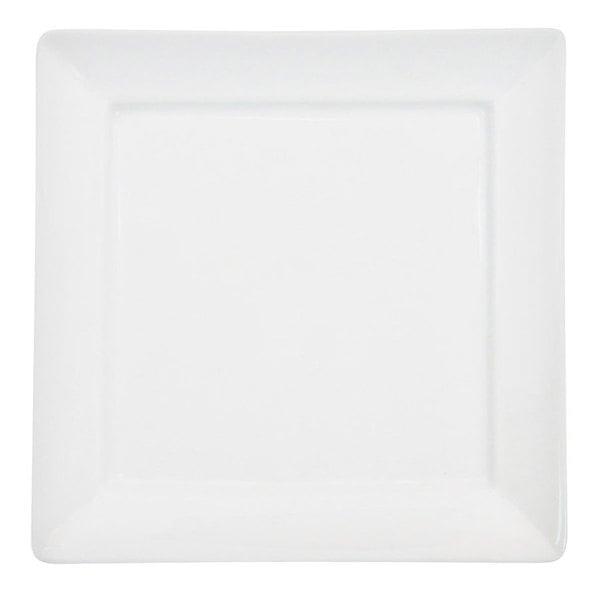 "CAC F-SQ16 Paris French 10 1/4"" Bone White Square Porcelain Plate - 12/Case"