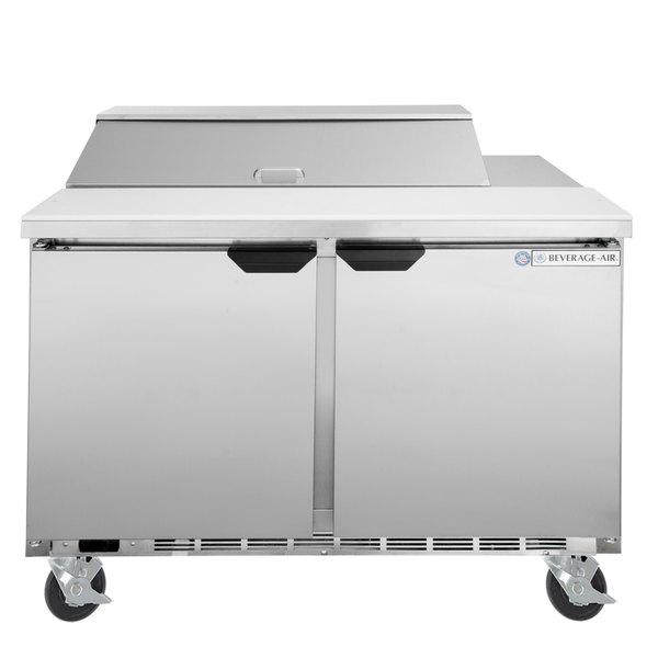 "Beverage-Air SPE48HC-10 Elite Series 48"" 2 Door Refrigerated Sandwich Prep Table Main Image 1"