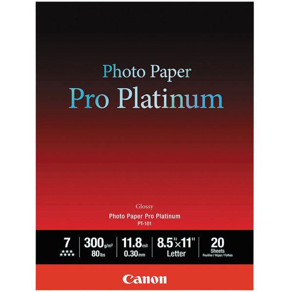 """Canon 2768B022 Pro Platinum 8 1/2"""" x 11"""" High-Gloss White Pack of 11.8 Mil Photo Paper - 20 Sheets Main Image 1"""