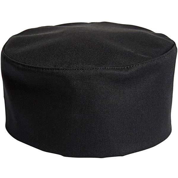 Uncommon Threads 0159 Black Customizable Uncommon Chef Skull Cap / Pill Box Hat with Hook and Loop Closure Main Image 1