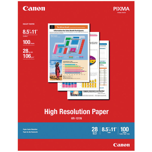 """Canon 1033A011 8 1/2"""" x 11"""" White Pack of 28# High Resolution 98 Bright Matte Paper - 100 Sheets Main Image 1"""