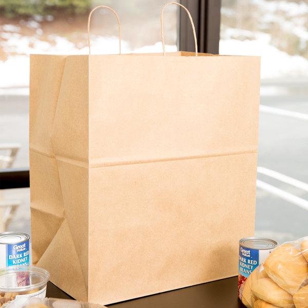 "Duro Grande Natural Kraft Paper Shopping Bag with Handles 16"" x 11"" x 18 1/4"" - 200/Bundle Main Image 3"