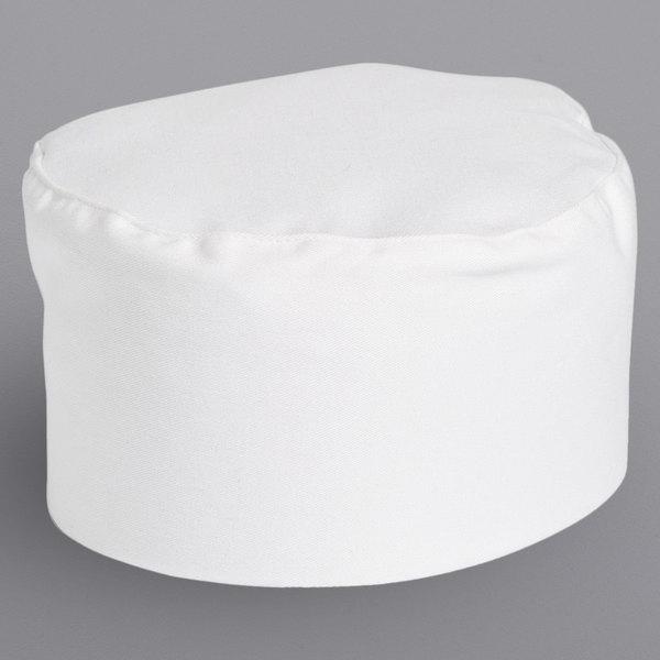 Uncommon Threads 0156C White Customizable Chef Skull Cap / Pill Box Hat Main Image 1