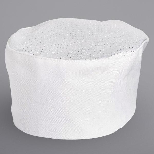 Uncommon Threads 0157C White Customizable Kool Mesh Top Chef Skull Cap / Pill Box Hat Main Image 1