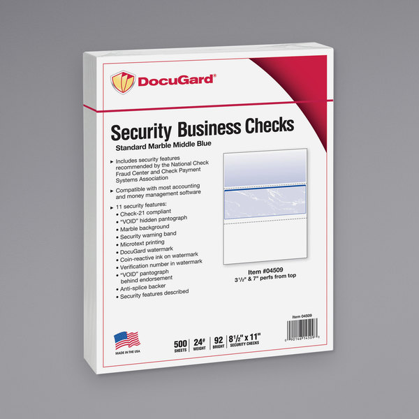 """DocuGard 04509 8 1/2"""" x 11"""" Blue Marble Middle 11 Feature Standard Security Check Paper - 500/Ream Main Image 1"""